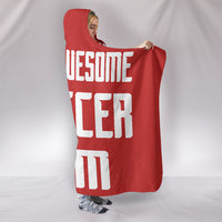Soccer Mum Hooded Blanket - White On Red