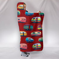 Caravan Hooded Blanket - Cherry Red