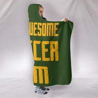 Soccer Mum Hooded Blanket - Gold On Green