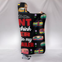 Beer & Camp Trailer Hooded Blanket - Black