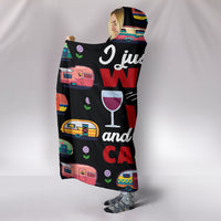 Wine & Caravan Hooded Blanket - Black