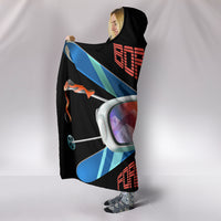 Born To Ski Hooded Blanket - Black