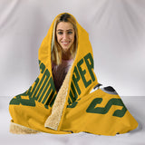 Soccer Mum Hooded Blanket - Green On Gold