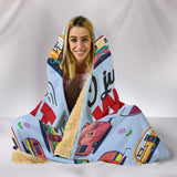 Wine & Campervan Hooded Blanket - Blue