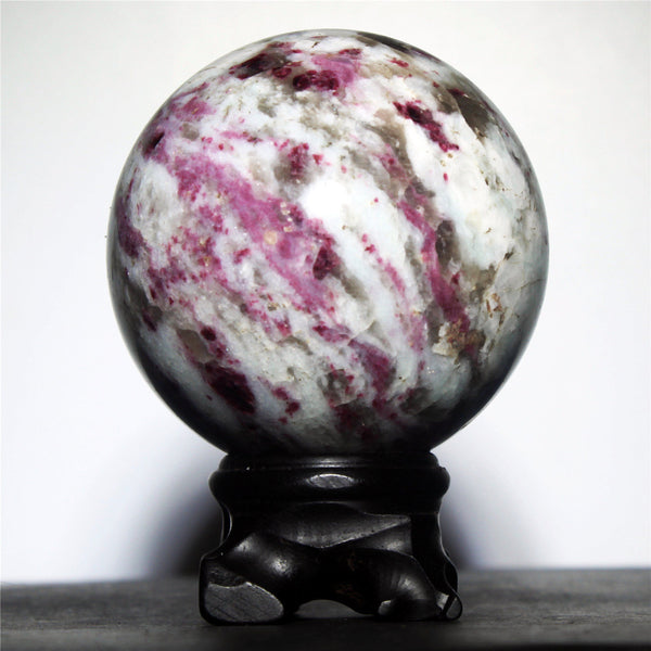 Polished Red Tourmaline Sphere On Stand - 513g