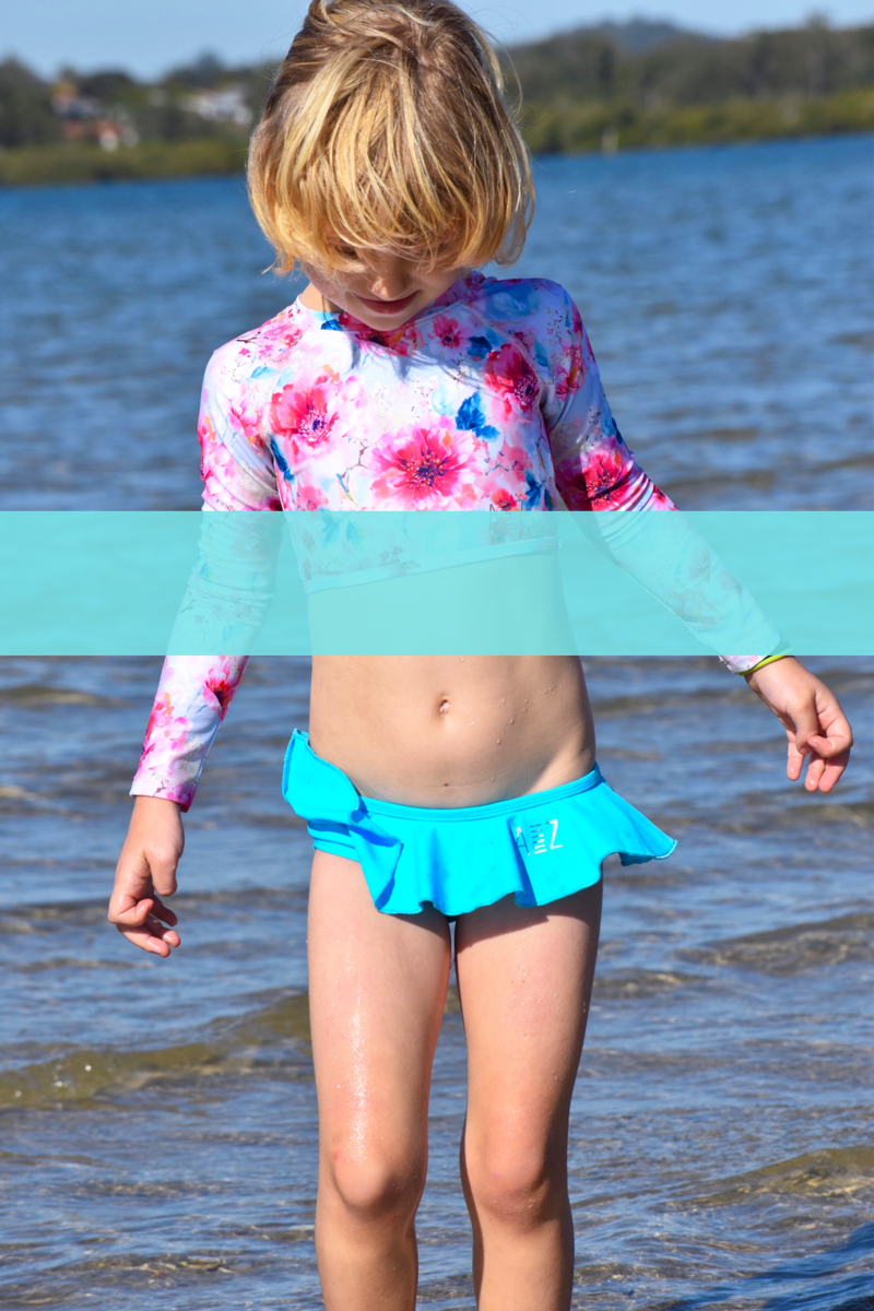 kids, swimwear, swimsuit, bathers, sunsafe, kids, bikini, long sleeve, one piece, rashie, onepiece, Australian made,