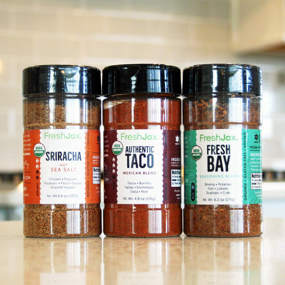 FreshJax Organic Spices Organic Grilling Spices 3 Pack Gift Set: Seafood Spices