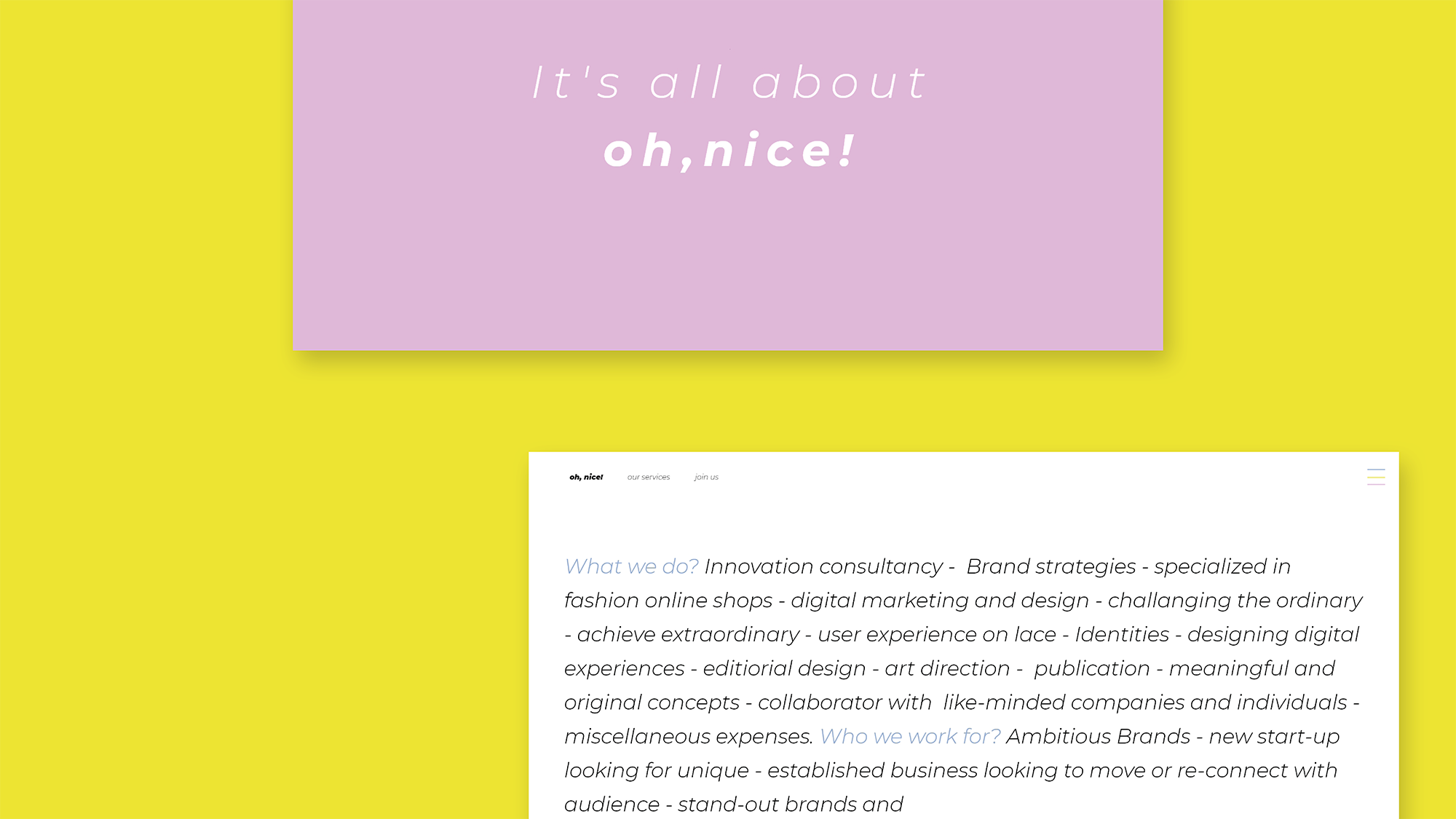 oh nice! by Art+Code Studio