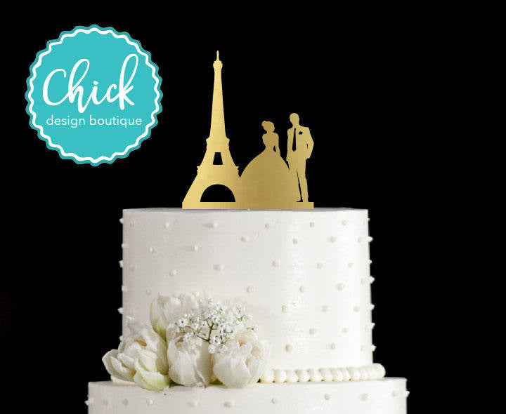 Paris Couple with Eiffel Tower, French Wedding Cake Topper Hand ...