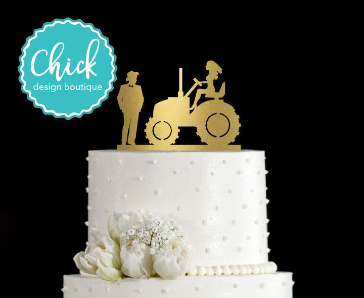 Country Wedding Couple and Bride on Tractor Wedding Cake Topper Hand ...