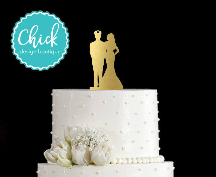 Police Officer Couple Wedding Cake Topper Hand Painted in Metallic ...