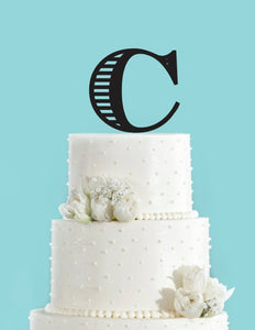 monogram personalized letter c custom cake topper unique traditional fonts wedding cake