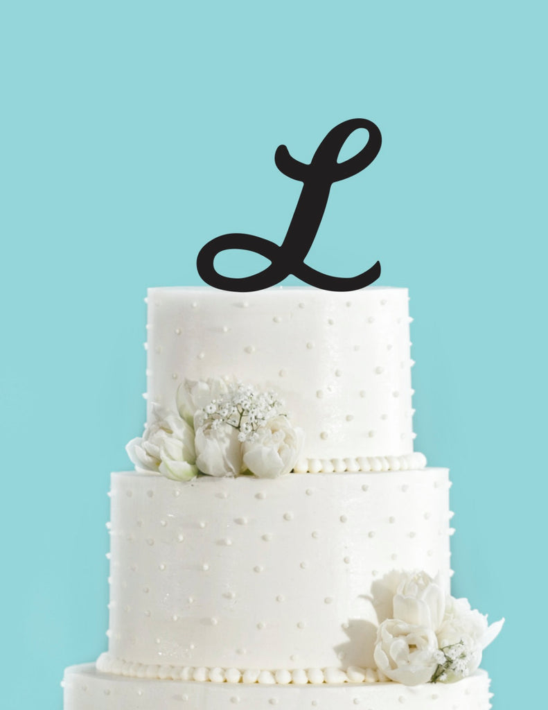 Monogram Personalized Letter L Custom Cake Topper Unique Traditional Fonts Wedding Cake