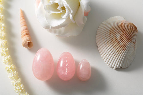 Rose Quartz Lotus Egg Set