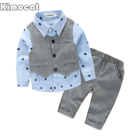Spring Baby Boy gentleman suit shirt + overalls 2pcs long sleeve T-shirt boys pants