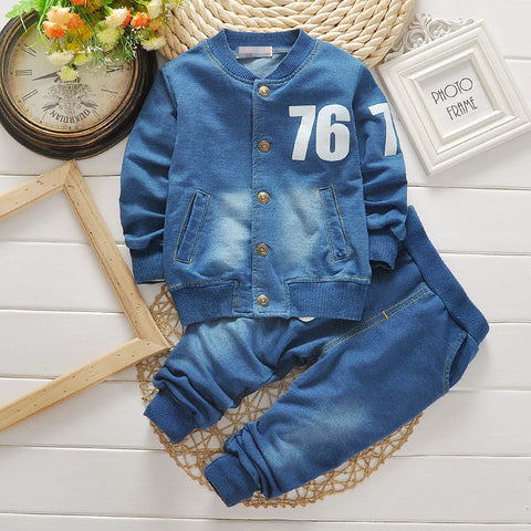 BibiCola fashion children clothing boys clothing sets denim suit baby boy 2 pcs Sets