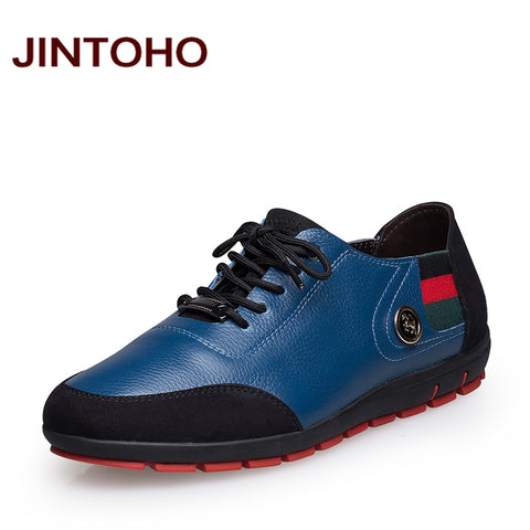 JINTOHO big size 37-47 male shoes casual fashion men's genuine leather leather moccasin luxury brand designer italian men shoes