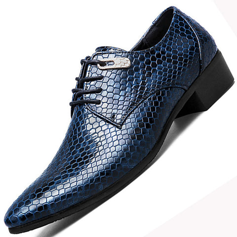 New Imitate Snake Leather Men Oxford Shoes Lace Up.