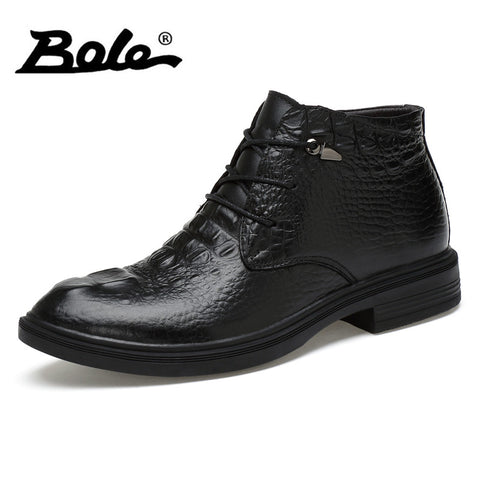 BOLE Brand Men Shoes Autumn&winter New Design High Top Men Leather Shoes Handmade.