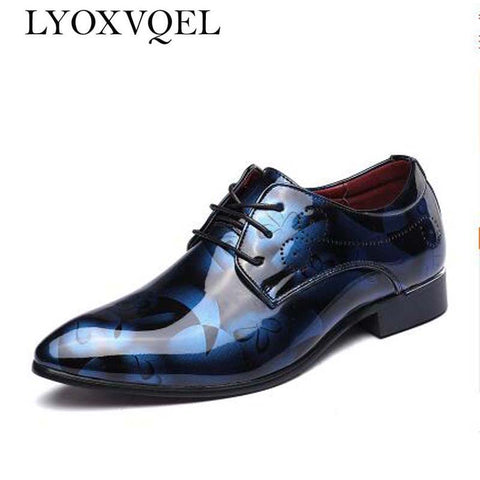Men Dress Shoes Shadow Patent Leather Luxury Fashion.