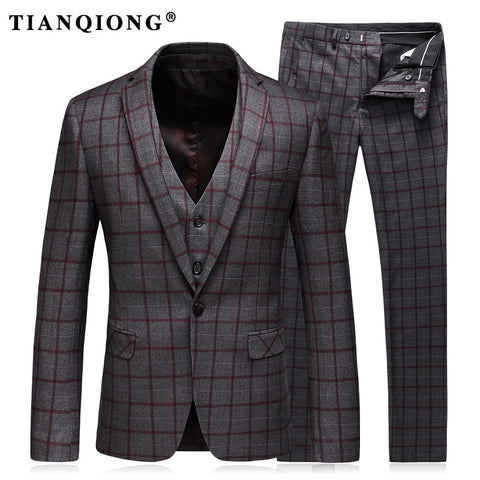 TIAN QIONG Mens Suits Slim Fit (Jacket+Vest+Pants) Set Modern Latest Coat Pants Designs