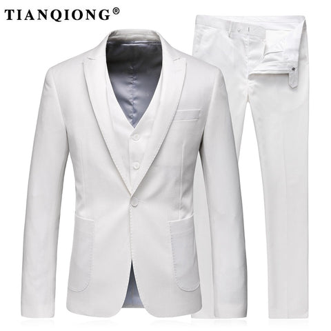 TIAN QIONG Men Wedding Suits 2017 White Suit Latest Coat Pant Designs Mens Stage Wear
