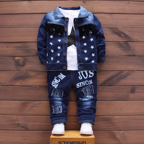 3pcs Cotton Letter Stars Jacket+T-Shirt+Jeans Autumn Winter Infant Overalls Baby Boys