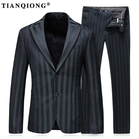 TIAN QIONG Stripe Men Suit Custom Made Navy Green Mens Striped Suit,Tailored Two Button Breasted Men Suits with Ticket Pocket