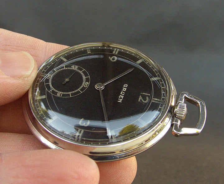 30s GRUEN Swiss 'Sector Dial' Art Deco Pocket Watch