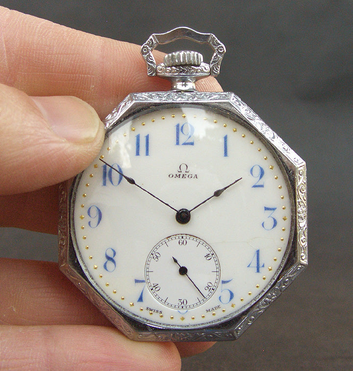 1911 OMEGA Swiss Enamel Dial Pocket Watch