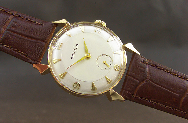 40s BENRUS 'Pie-Pan' Gents 14K Solid Gold Vintage Watch