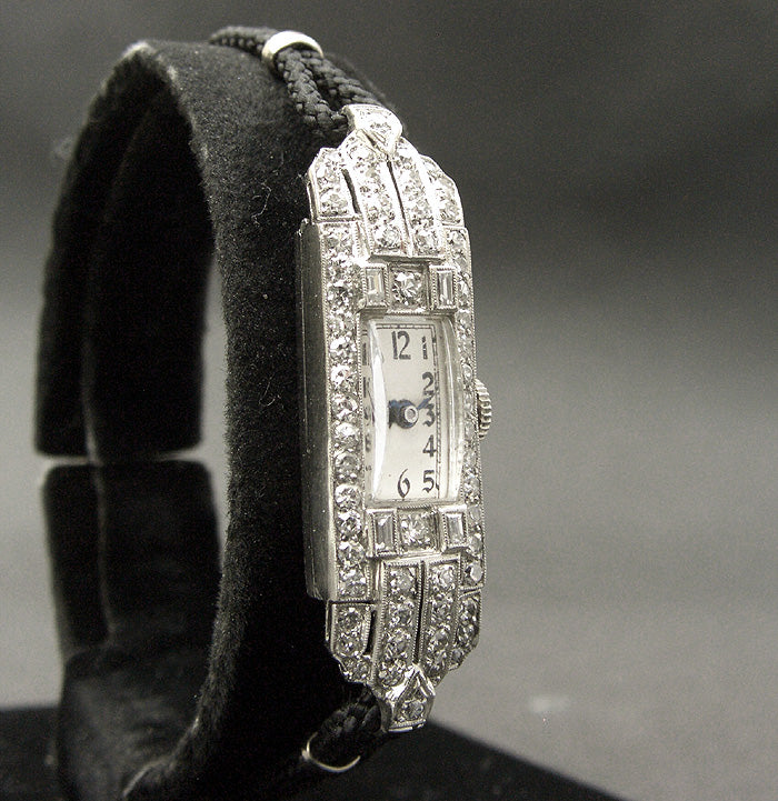30s H. SANDOZ Ladies Platinum & Diamonds Art Deco Watch