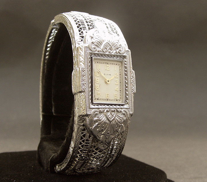 1933 ELGIN USA Ladies Art Deco Filigree Bracelet Watch