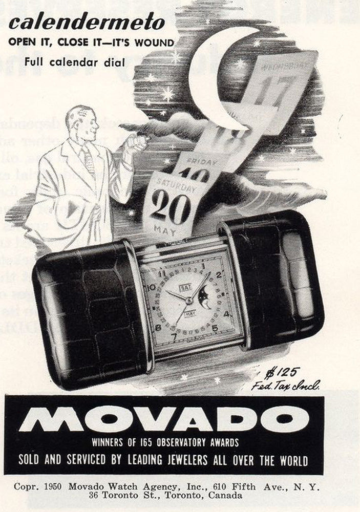 40s MOVADO Calendermeto Swiss Travel Watch Mondphase