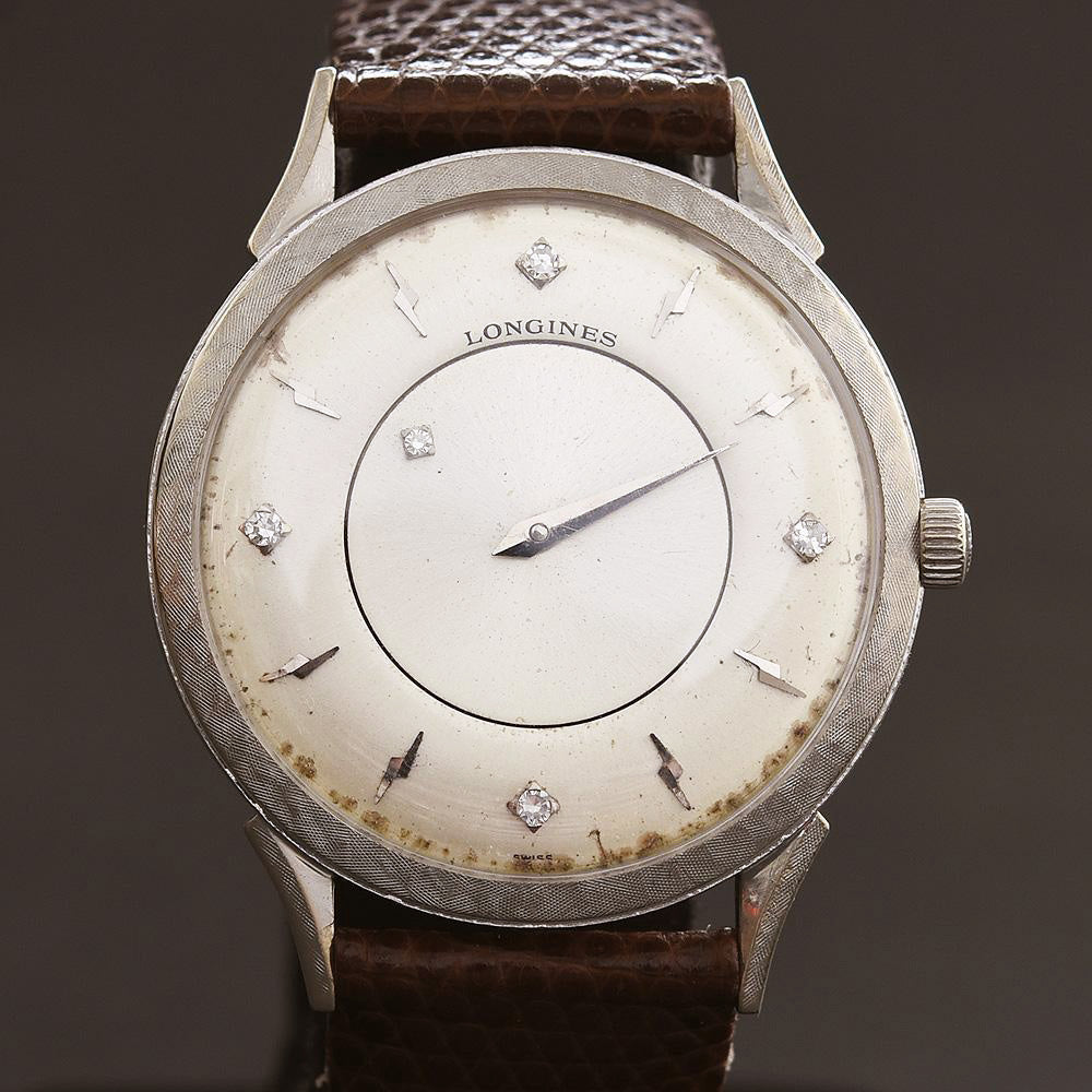 1964 LONGINES Mystery Dial 14K Solid Gold/Diamonds Slim Dress Watch