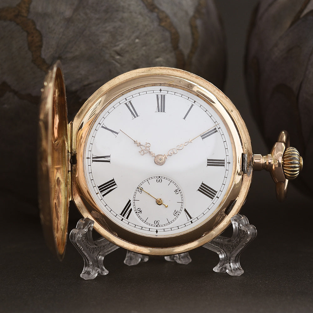 1900s FONTAINMELON Ebauche 14K Gold Swiss Savonette Pocket Watch