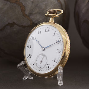 1920s Slim French 18K Gold Hi-Grade Pocket Watch