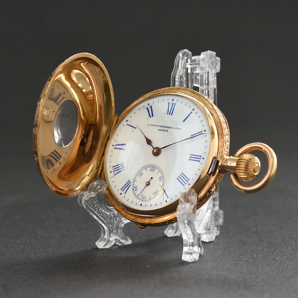 1900s GOLAY Demi-Hunter Swiss 18K Gold/Enamel Pocket Watch