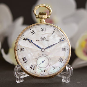 1906 IWC Schaffhausen 18K Gold Mother Of Pearl MOP Pocket Watch