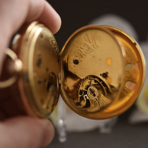 1874 G.F. Garrett 18K Large English Chronograph Pocket Watch
