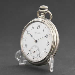 1898 LONGINES Swiss Antique Silver Pocket Watch
