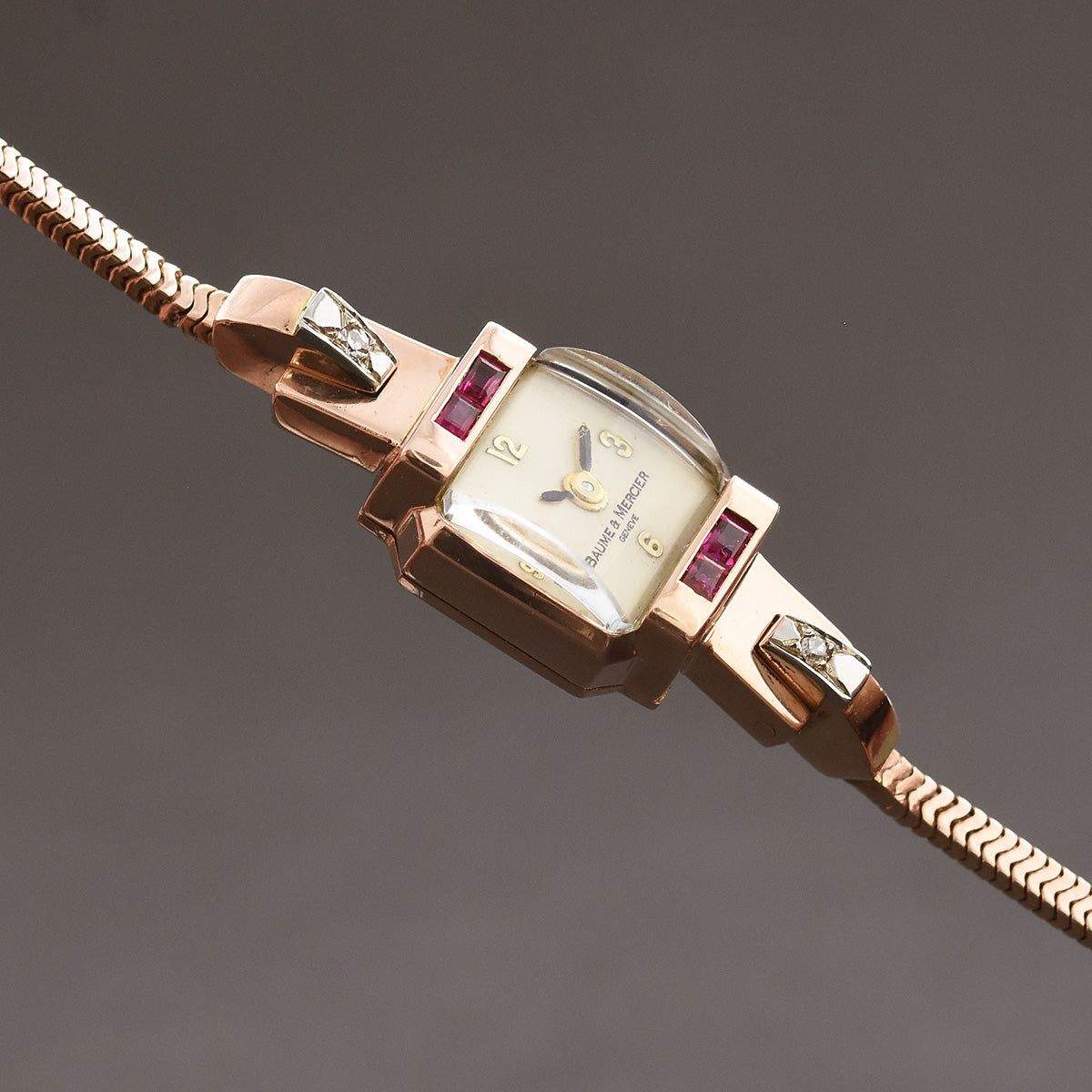 50s BAUME&MERCIER Ladies 14K Gold/Diamonds Rubies Cocktail Watch