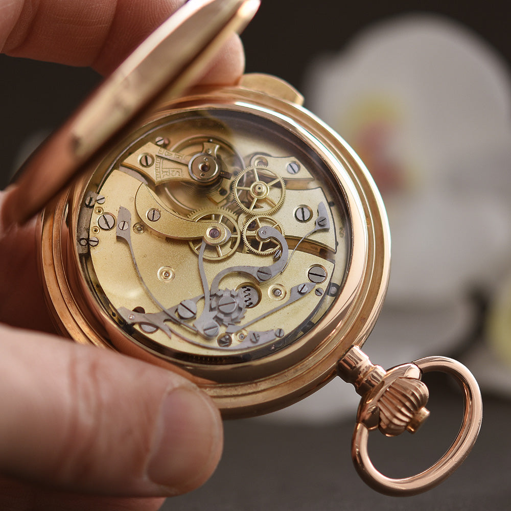 1910s SWISS Chronograph / Quarter Repeater 14K Gold Large Pocket Watch