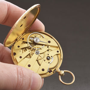 1870s SWISS Floral 18K Gold Slim Cylinder Pocket Watch