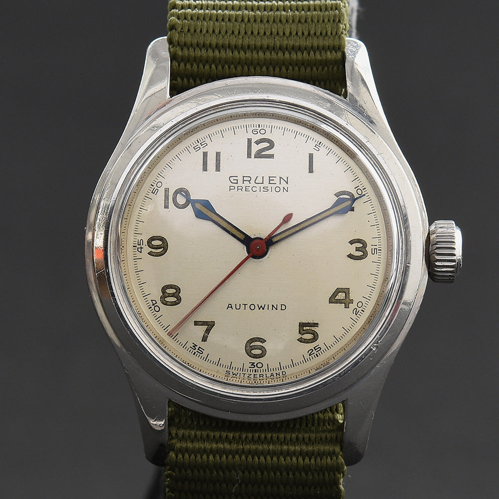 1951 GRUEN 'Autowind Ace' Bumper Gents Military Style Watch