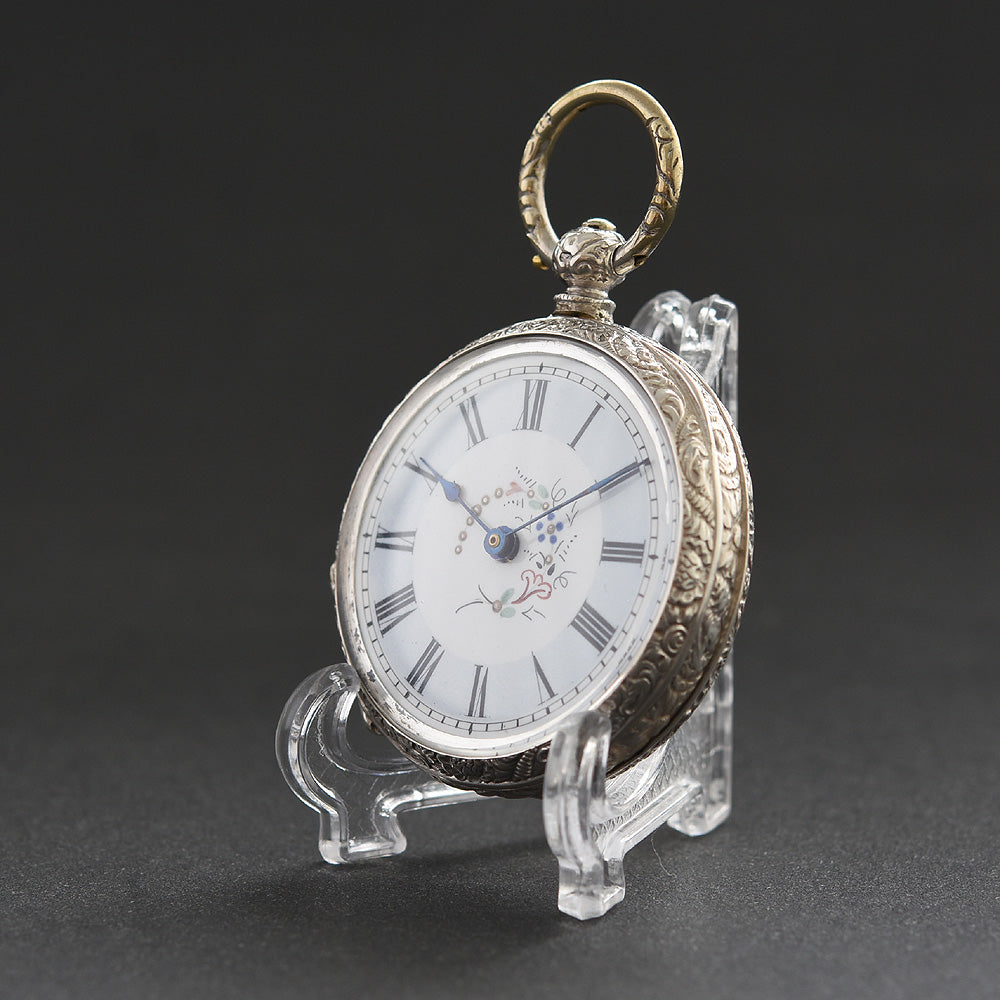 1870s ER Swiss Silver Cylinder Pocket Watch