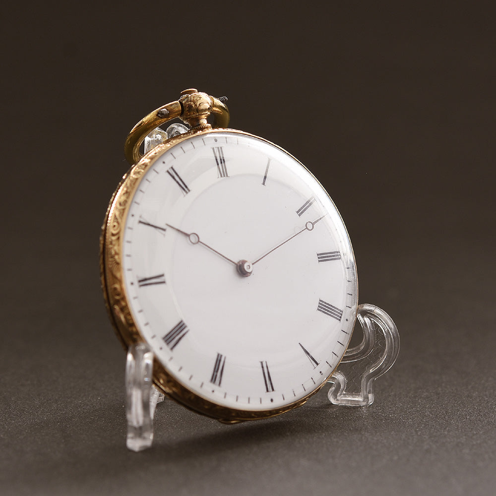 1870s SWISS Hunter Scene 18K Gold Slim Cylinder Pocket Watch