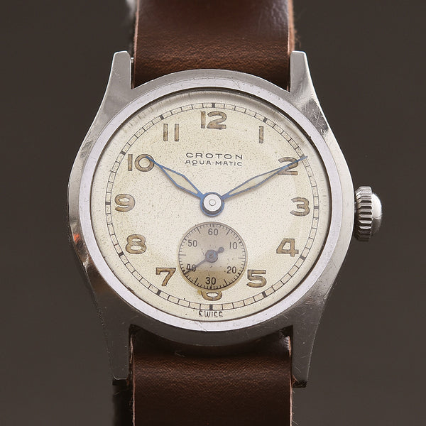 40s CROTON Aqua-Matic Bumper Military Style Gents Watch
