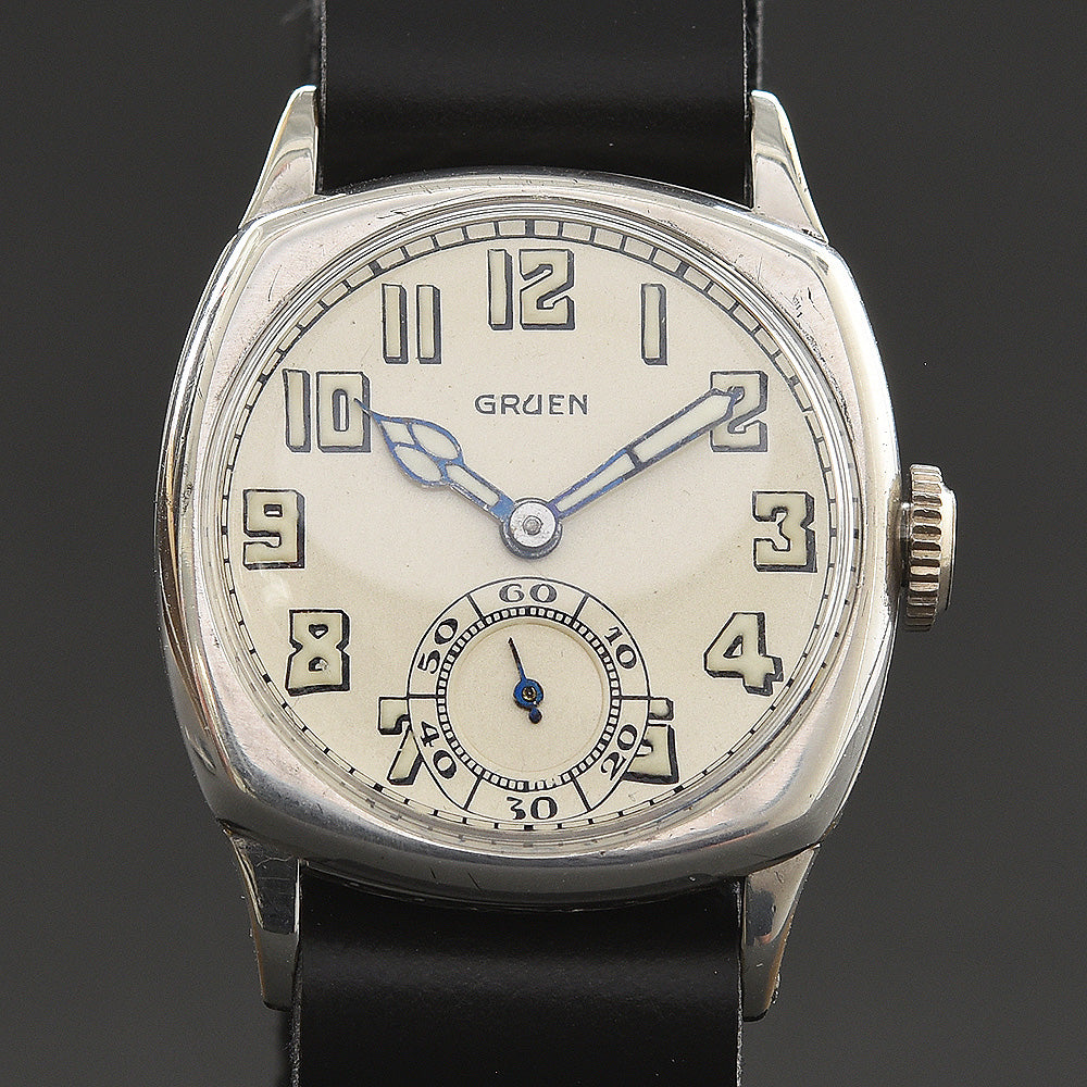 1927 GRUEN Guild Gents Cushion Trench Art Deco Watch