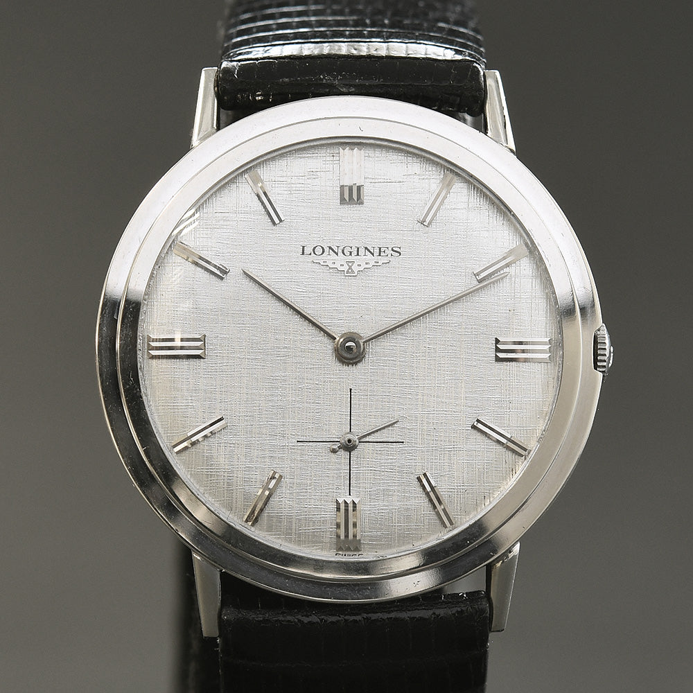 1959 LONGINES Gents 14K Solid White Gold Slim Dress Watch